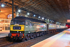 47501 1Z87 Preston (British Rail 1980s and 1990s) Tags: train railway rail railroad lmr londonmidlandregion mainline wcml westcoastmainline livery liveried preston lancs lancashire station night passenger diesel br britishrail statesmanrail royalwindsorstatesman locohauled lsl locomotiveservicesltd loco locomotive charter tour railtour green blue craftsman 47501 47614 47853 47 class47 type4 sulzer brush 1z87
