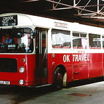 OK TRAVEL BRISTOL LH OJD76R IS SEEN AT THEIR BISHOP AUCKLAND DEPOT ON 6 SEPTEMBER 1995