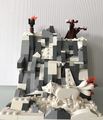 somewhere in the mountains (duccmysick) Tags: mountains landscape lego moc snow wolf animal