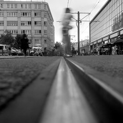 Crossing Tracks (ucn) Tags: berlin weltaweltax agfacopexrapid street motionblur tessar75mmf35
