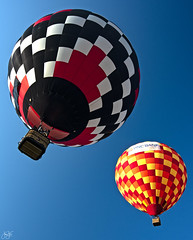 Double departure (Jersey JJ) Tags: hot air balloon nj new jersey festival of ballooning colorful double departure