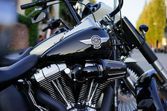 Powered by V-twin (Eric Flexyourhead) Tags: vancouver canada britishcolumbia bc west5thavenue themotosocialvancouver motorcycle motorbike bike detail fragment american harley harleydavidson tank fueltank shallowdepthoffield sonyalphaa7 zeisssonnartfe55mmf18za zeiss 55mmf18