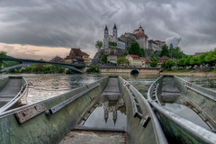 The fortress (Tjaldur66) Tags: river boats fortress church bridge clouds rainclouds reflection puddle belltowers outdoor exploring aarburg aargau aare switzerland