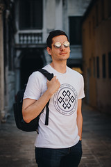 🔥 (Nika Watson) Tags: italy venice portrait 50mm bokeh boy guy street style sunglasses backpack handsome