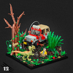 12 - Spit (Legopard) Tags: lego jurassicpark dennis nedry isla nublar car vehicle moc jurassic park tree river water waterfall plats foliage ground