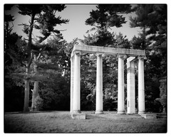 Princeton Battlefield Colonnade (JurassicParkCamera) Tags: largeformat film kodaktrix320 rodenstock aposironars 240mm rodinal architecture princeton bw blackandwhite 8x10 deardorff