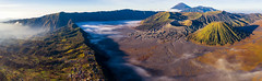 landscape of mountain to take a sunrise photo by drone for Bromo vocano (anekphoto) Tags: surabaya hight morning day trek destination adventyre mist viewpoint volcano indonesia java travel asia asian tour top park mt natural national outdoor mountbromo fog hiking peak landscape landmaek temple crater smoke nature sunrise mount sky bromo view mountain volcanic attraction semeru scenery tourism adventure active journey cloud scenic cloudscape eruption