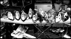 chat en vitrine et fers à repasser , yashica t5 trix (villatte.philippe) Tags: chat chiens animaux vitrine table à repasser fer yashica t5 tri x
