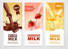 Sweet Milk Banners Set (swikritighosh13) Tags: decorative business banner bookmark background element template advertising sticker sale quality design set collection layout concept realistic 3d banana sweet milk choco chocolate cocoa beans strawberry slice cut piece fruit splashes drink pouring taste marketing shop production dairy cow useful flavour food packaging glass healthy natural vertical isolated vector illustration
