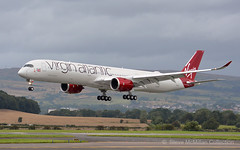 """Virgin's 1st A350 G-VLUX """"Red Velvet"""" - first visit to Scotland (Steve's Piks) Tags: a350 a35k virgin atlantic glasgow vir vs long haul airbus red velvet gvlux jet airliner"""