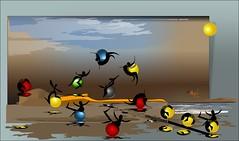 Jugando en la playa (Amparo Higón) Tags: verano summertime beach playa playingonthebeach jugandoenlaplaya valencia comunidadvalenciana vectorpainting vectorart pelotasdecolores balls niños children kunst modernekunst alternativereality mundosparalelos hacecalor artwork modernart amparohigón