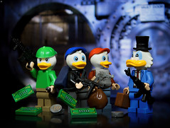 Gangster Duck Tales (Jezbags) Tags: gangster duck tales disney ducktales scrooge scroogemcduck huey dewey louie ducks canon canon80d 80d 100mm macro macrophotography macrodreams macrolego lego legos toy toys safe