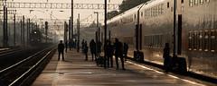 Silhouettes (Aphélie) Tags: moscou moscaw train station gare lever soleil sun rise москва