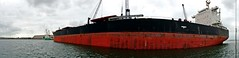 ¿Un barco o una ballena? (alfonsocarlospalencia) Tags: petrolero barco santander ballena panorámica rojo negro descarga muelle eslora nublado verde inmensidad agua angular grúas
