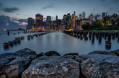 Into the Night (Kathy Macpherson Baca) Tags: nyc newyorkcity cityscape pilings brooklyn planet eastriver world people earth manhattan