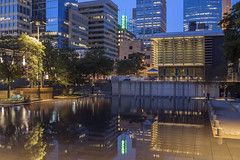 Orchestra Hall and Downtown Minneapolis Reflect in Peavey Plaza (Sam Wagner Photography) Tags: downtown minneapolis twilight long exposure peavey plaza orchestra hall reflections blue hour midwest minnesota urban city water calm smooth