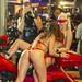 Sexy Girls in red bikini from Moulin Rouge cabaret on custom big bike. Phuket Bike Week, Thailand          XOKA1904bs