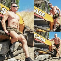 Tractor (ddman_70) Tags: shirtless pecs abs muscle outdoor workout hiking shortshorts tractor