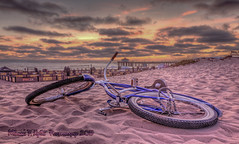 Bike in the Sand (Michael F. Nyiri) Tags: bicycle manhattanbeach sand sunset pinksunset clouds california southerncalifornia