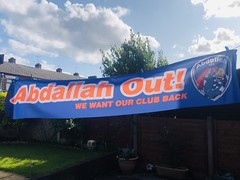 Tweeted picture: Abdallah Out! protest banner (Diego Sideburns) Tags: oldhamathletic boundarypark abdallahlemsagam latics bottomofthefootballleague