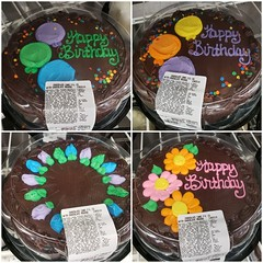 Smaller Costco Cakes (tommyd.) Tags: costco folsom california cake chocolate round dessert birthday party gathering happybirthday brown mousse frosting flowers balloons icing purple green blue yellow orange pink sunflower writing decadent bakery baking chilled refrigerated yummy tasty delicious collage