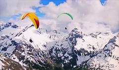 FRANCE - Alps - Two paragliding (Jacques Rollet (Little Available)) Tags: paragliding france alps montagne mountain neige snow sky ciel nuage cloud hiver winter