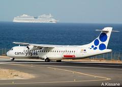 CANARYFLY ATR-72 EC-IZO (Adrian.Kissane) Tags: airline aircraft aeroplane plane airport departing runway ship sea sky outdoors 792017 atr72 ecizo lanzarote canaryfly