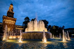 Castello Sforzesco at  the dusk (onirocriticon) Tags: castellosforzesco fountain dusk crepuscolo milan freehand