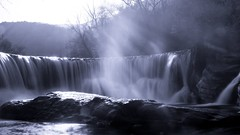 The Dream In Blue (S84) (Darblanc ( http://darblanc.com )) Tags: canoneos7d mountains hills countryside nature river winter colour stackedimages mergedimages sunrise sunset daytime landscape cascade waterfall reflection road longexposure france massifcentral hérault visriver saintlaurentleminier occitanie monochrome