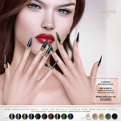 "Alme for Fetish Fair-""Alme Mesh Stiletto nails ""Fetish Line Metals & Colors"" & Add On//Spikes"" ♥ (ChloeElectra) Tags:"