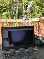 Solar photography setup (crazyxavphotos) Tags: astrophoto sun sunspots sunphoto sunphotography sunobservation sunobserving backyardastronomy astronomy astrophotos sunflames redsun solarfilter newtontelescope lmda