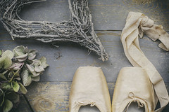 Life is the dancer and you are the dance...Eckhart Tolle (judi may) Tags: flatlay stilllife hydrangea flower driedhydrangea pointeshoes balletshoes heart rustic vintagestyle textures canon5d 50mm