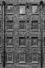 frame by frame (SCRIBE photography) Tags: uk england cheshire lancashire manchester monochrome symmetry windows industry industrial design architecture form purpose function cotton mill styal national trust nationaltrust drainpipe drainpipes brick bricks black white building quarry bank quarrybank