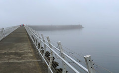 Walking into the fog (Adaptabilly) Tags: lighthouse victoria bc railing water people path iphone fog atmosphere britishcolumbia pavement canada