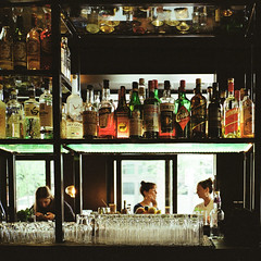 through the bar (stevebanfield) Tags: contaxt3 shotonfilmstore bar indoors kodak film seattle scan