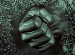 Clenched fist (Millie Cruz (On and Off)) Tags: closed macromondays hand monochronme hulk shattered glass fist clenchedfist
