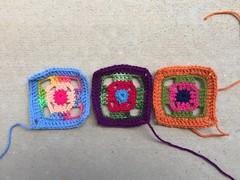 The last three four-inch flamboyant squares (crochetbug13) Tags: crochet crocheted crocheting crochetsquares crochetswagbag crochetpurse grannysquarepurse grannysquareswagbag grannysquarebag usewhatyouhave