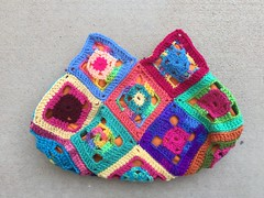 The other side of the scrap yarn flamboyant swag bag (crochetbug13) Tags: crochet crocheted crocheting crochetsquares crochetswagbag crochetpurse grannysquarepurse grannysquareswagbag grannysquarebag usewhatyouhave