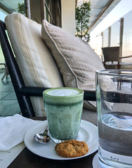 Matcha Tea in West Hollywood, California (ChrisGoldNY) Tags: california losangeles bookcovers albumcovers licensing iphone chrisgoldny chrisgoldberg chrisgoldphoto green cookie tea drinks fancy matcha morning