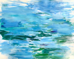 View from the Sea House (Suz .. Abstract Art) Tags: blue sea fresh diamond water sapphire painting art expressive love abstract modern watercolor paint white joy oil happiness