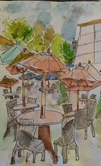 A Water Color Sketch (Aunti J) Tags: sketch sckething inkpen watercolor outside outdoors dinning sky trees