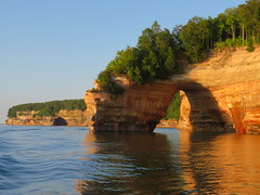 Pictured Rocks National Lakeshore (yooperann) Tags: upper peninsula michigan pictured rocks munising cruise evening light cliffs trees arch lake superior sandstone formation
