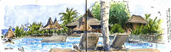 Week-end à l'hôtel (Phil de couleur) Tags: aquarelle encre reunion reunionisland ink sketch dessin jardintropical watercolor croquis végétation namiki swimmingpool piscine hotel
