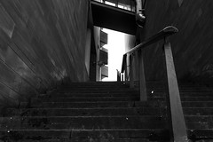 Street (lightersideofdark) Tags: blackwhite dark shadow stairs banister balconies light atmosphere architecture duct pipe airduct outside outdoors