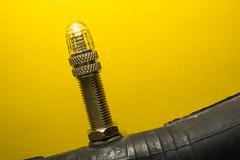 Closed Dunlop valve (mvnfotos) Tags: macromondays closed bicycle dunlop valve yellow
