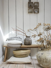 Dried Flowers (Heath & the B.L.T. boys) Tags: ikea livingroom neutral botanical bench vase pottery shelves blanket basket