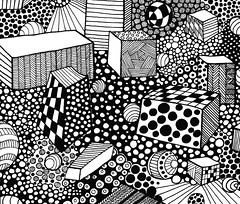 abstract84 (TrailheadArtisan) Tags: blackandwhite art drawing doodle ink markers design abstract pattern line circles squares boxes checkerboard busy