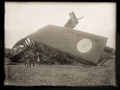 The unfortunate crew posing before their broken Farman F.60 Bn2 (Glass plate 2 of 5) [France, ca. 1925] (Kees Kort Collection) Tags: 1925 biplane bomber f60 farman glassplate nightbomber accident