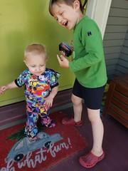 Dancing (quinn.anya) Tags: eliza sam kindergartener toddler door dancing cards