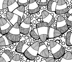 abstract57 (TrailheadArtisan) Tags: blackandwhite art drawing doodle ink markers design abstract pattern line candycorn circles cones